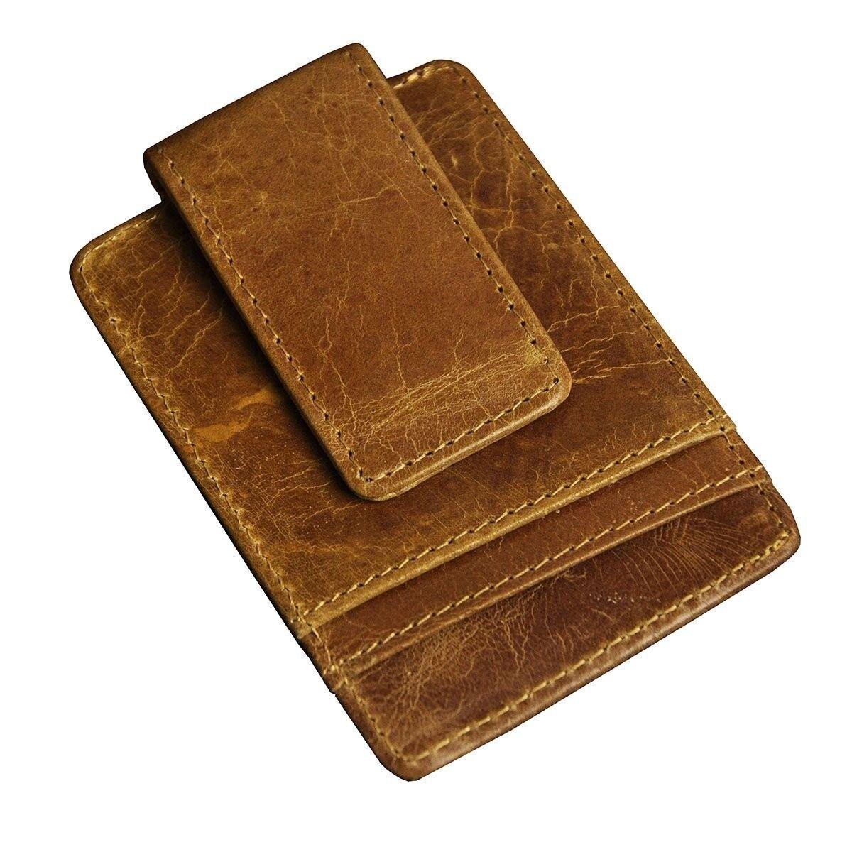 Mens Genuine Leather Cowhide Magnet Money Clip Credit Case Case Holder  - $24.54