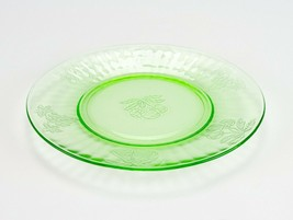 "Hazel Atlas Fruits Green Luncheon Plate, Vintage Depression Glass Salad 8"" - $9.80"