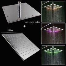 "10"" Square Temperature Sensor Changing Color LED Showerhead, Polished Chrome - $145.10"