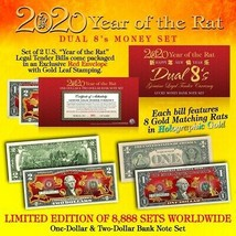 2020 CNY YEAR OF THE RAT DUAL 8's Chinese New Year OFFICIAL CURRENCY US ... - $18.66
