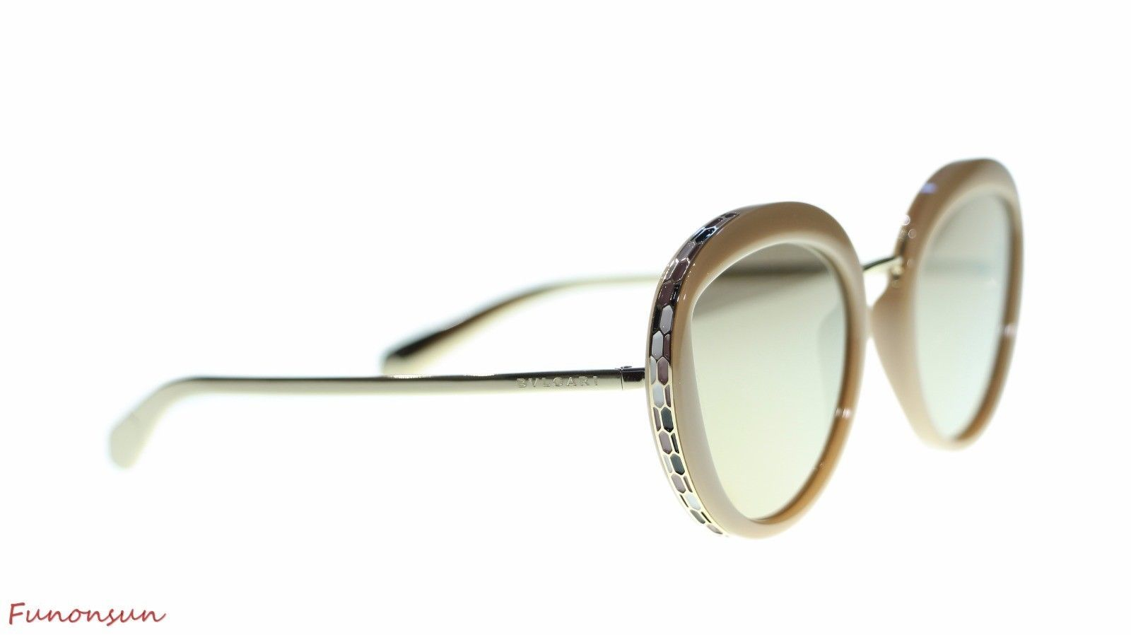 ba1cfc4ebd08e BVLGARI Women s Round Sunglasses BV8191 11215A Beige Brown Mirror Gold Lens  52mm