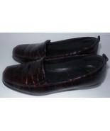 The Flexx Loafer Low Heel US 7 EUR 38 Reddish Brown Croc Look Square Toe... - $24.04