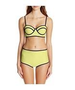 Bra Society Neoprene Yellow Full Coverage Bottoms Padded Top Bikini Sz X... - $27.72