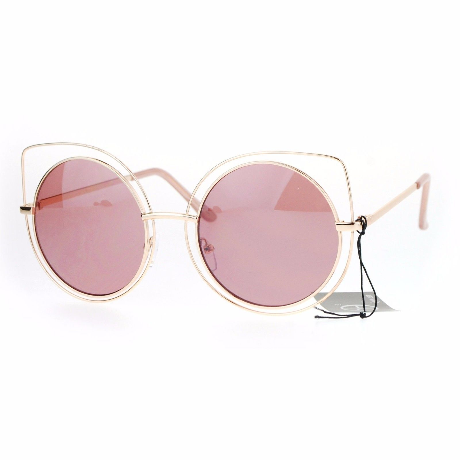 Womens Sunglasses Round Inner Circle Cateye Double Wire Frame UV 400