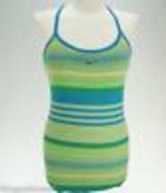 Nike Women's Medium Blue Green Striped Tank Top With Shelf Bra - $18.00