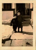 Old Vintage Antique Photograph Two Cute Little Boys Standing in Front of... - $6.93
