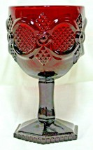 "Avon Vintage Ruby Red Cape Cod Water Glass Goblet Large Stemmed 6"" Excel... - $12.99"