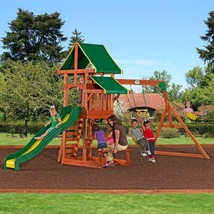 Outdoor Playground Playset Wooden Swing Set Slide Backyard Swingset Kids... - $652.36