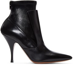 Givenchy Black Leather Ankle Booties Small Heel Pointy Toe Boots 37- 6.5 Booties - $493.00