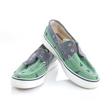 Sperry Top Sider Green Canvas Sailboat Boat Shoes Loafers 2-Eye Laces Wo... - $24.65