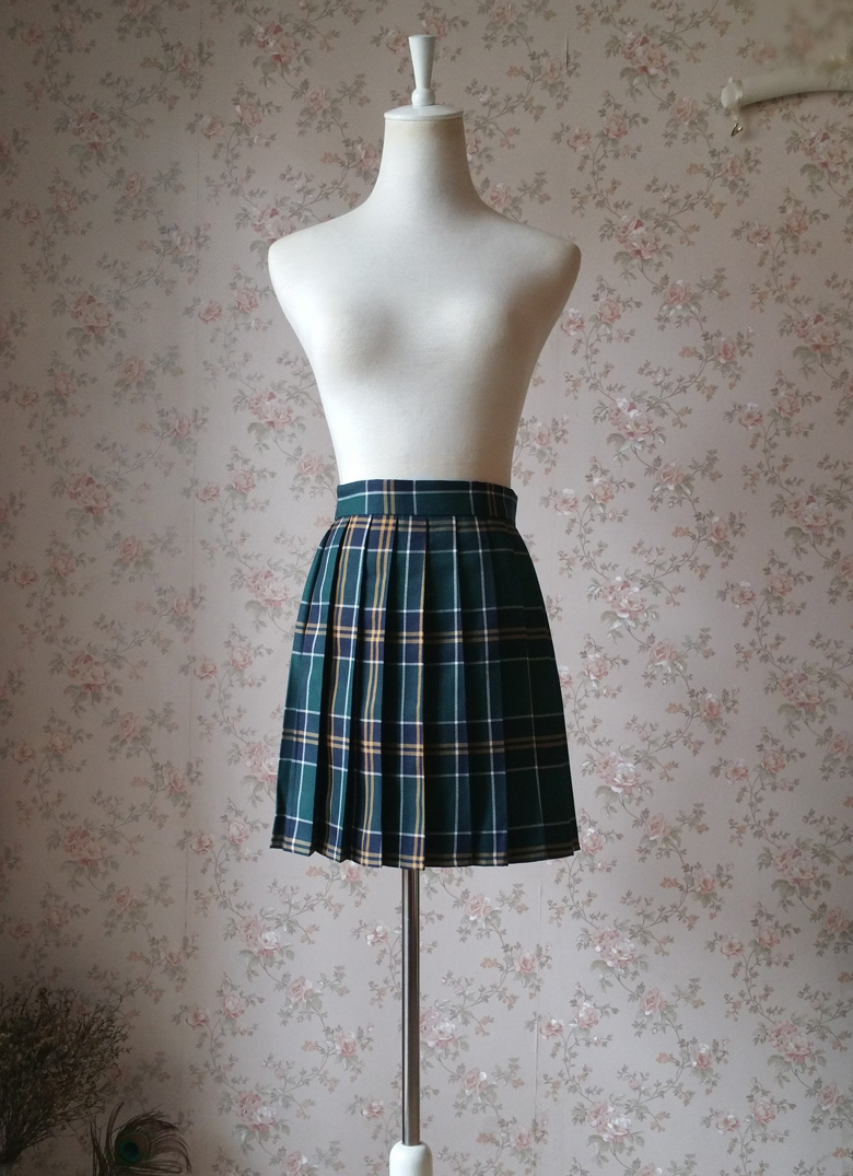Women Girl Dark Green PLAID SKIRT Mini Pleated School Skirt Pleated Plaid Skirt