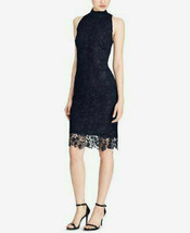 RALPH LAUREN $195 Women's Navy Lace Short Sleeve Bodycon Dress Size 16 - $34.43