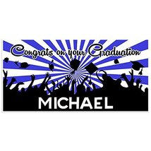 Blue And White Graduation Banner Personalized Class of 2018 Party Backdrop - £16.88 GBP