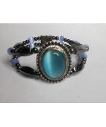 Woman's Magnetic Hematite Bracelet With Light Blue Oval Cats Eye Stone W... - $45.00