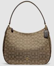 New Coach 29959 Zip Shoulder bag Signature Jacquard handbag Khaki / Brown - $104.00