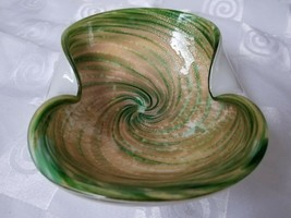Murano Ashtray Bowl Cased Spiral Green Gold Silver Foil Vintage - $28.45
