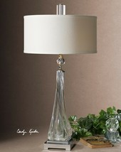 "MODERN XXL 32"" THICK TWISTED GLASS NICKEL METAL TABLE LAMP CRYSTAL DETAIL - $396.00"