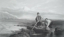 ENGLAND Children Prawn Fishers Sea Shore - SUPERB 1849 Antique Print - $19.80