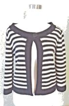 Croft & Barrow Women's Striped Cardigan Petite Sweater Blue White Knit Ribbed image 8