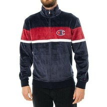 FELPA UOMO CHAMPION FULL ZIP TOP 214025.BS501 ZIP VELOUR BLU - $90.33