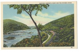 Vintage Postcard Potomac River Historic Harper's Ferry Train Track Linen - $4.95