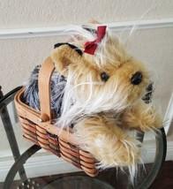 Yorkshire Terrier Dog Plush Stuffed Animal in Basket Halloween Animal Alley - $14.84