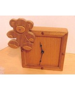 "Vintage Hand Made Wood Kids Bear Nursery Clock Carved Bear 3D-7"" X 7"" Sq... - $1.99"