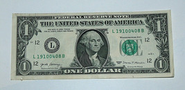 2017 $1 Bill US Bank Note Date Birthday Year April 8 1910 0408 Fancy Ser... - $14.83