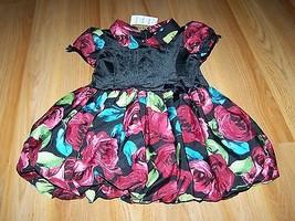 Toddler Size 3T The Children's Place Floral Rose Bubble Hem Dress Black Velour N - $20.00