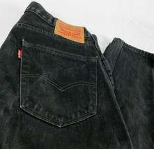 Levis 505 Black Denim Jeans W 34 L 30 (Act L 29 ) Regular Fit Straight L... - $34.99
