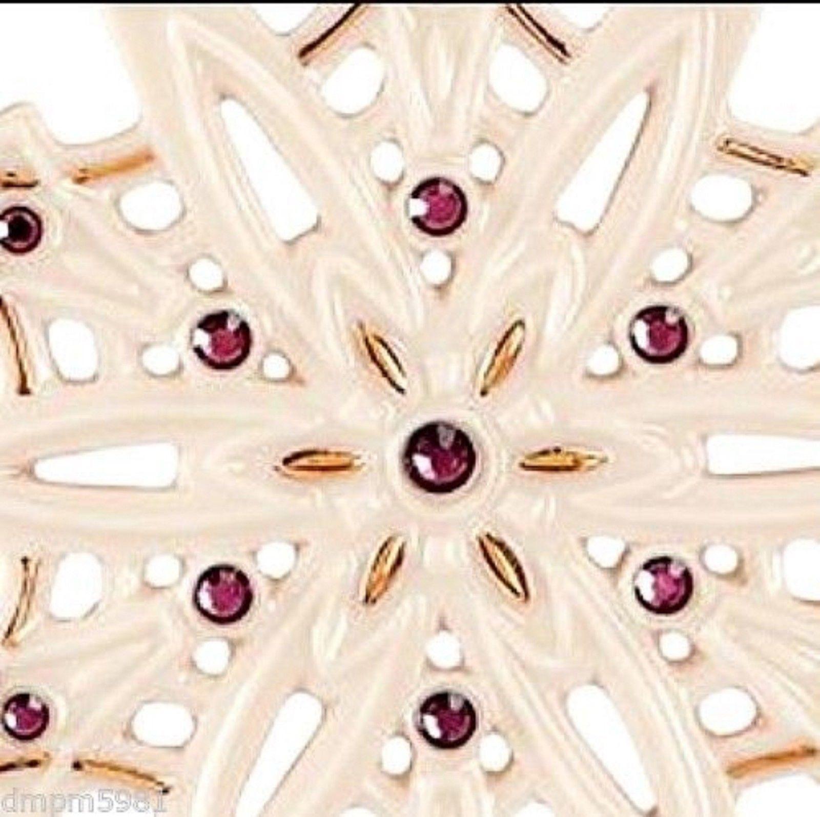 Lenox 2015 Gemmed Snowflake Ornament Annual Amethyst Crystals Christmas Gift NEW