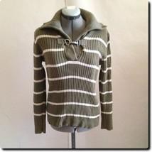 Lauren - Ralph Lauren Green and White Shawl Collar with Metal Clip Sweater - $27.01