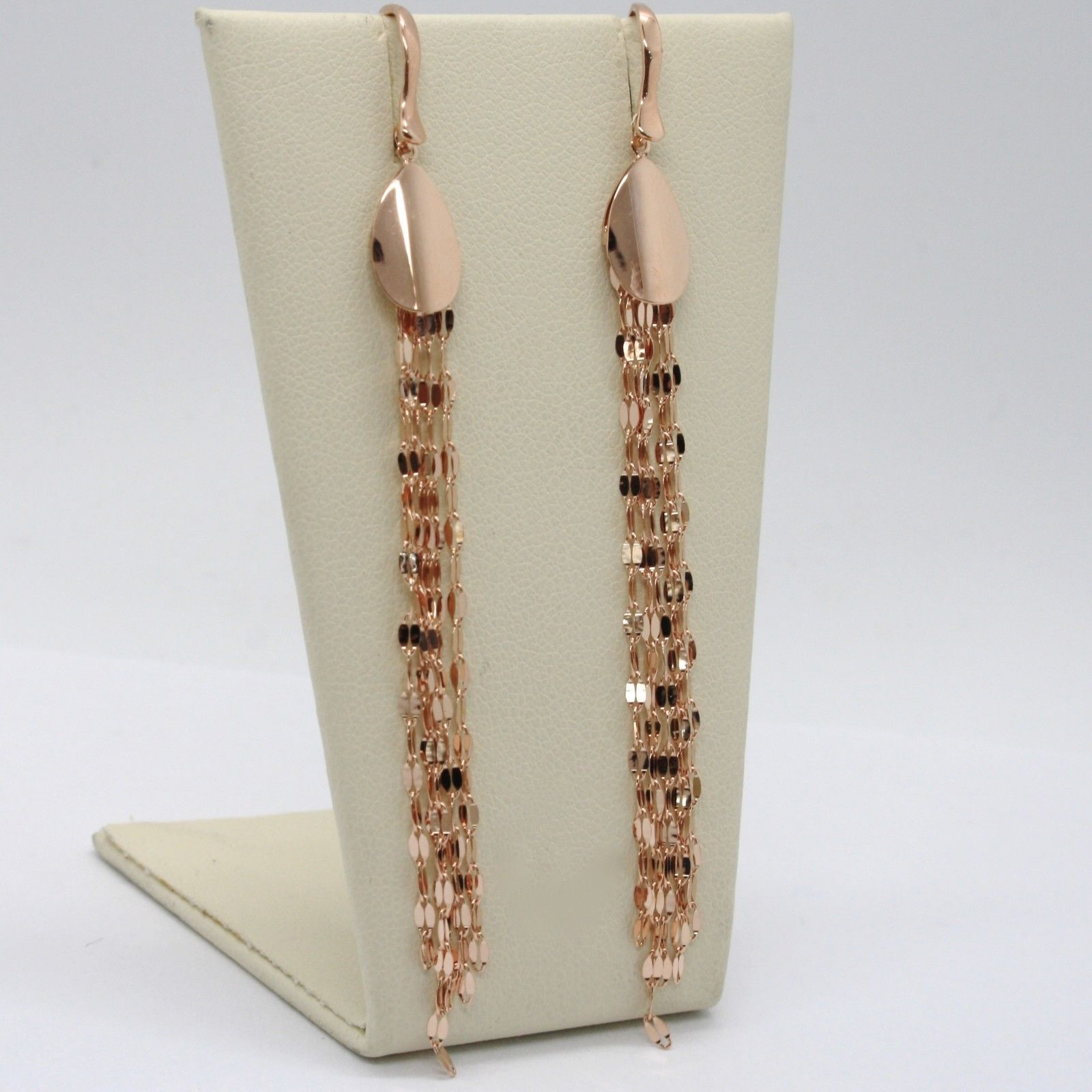SOLID 18K ROSE GOLD LONG PENDANT EARRINGS WITH DROP AND FRINGES, MADE IN ITALY