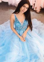 Stunning Beaded Light Sky Blue Tulle Beaded Long Prom Dress V-Neck Forma... - $158.44