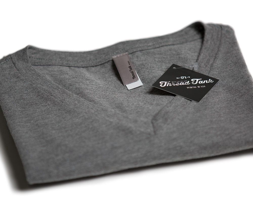 Thread Tank HanGry Hungry Women's Relaxed V-Neck T-Shirt Tee Heather Grey