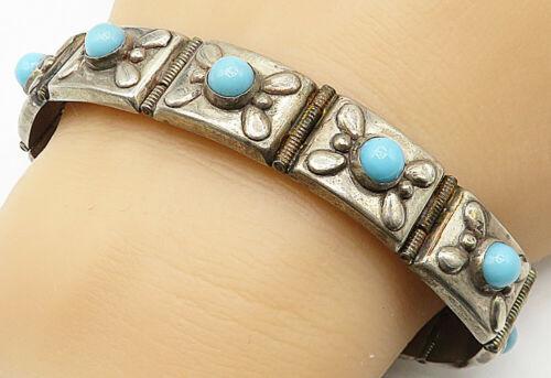 925 Silver - Vintage Antique Cabochon Cut Larimar Hinged Chain Bracelet  - B4609