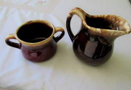 Large McCoy Brown Drip Pottery, Sugar and Creamer. - $18.80