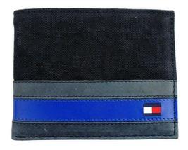 Tommy Hilfiger Men's Leather Canvas Credit Card Wallet Billfold Navy 31TL22X050 image 4