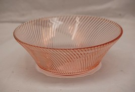 """Old Vintage Diana Pink Depression by Federal Glass 9"""" Salad Bowl Swirled - $29.69"""