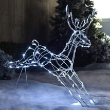 Christmas Outdoor Decoration Lights LED Reindeer Silhouette Garden Xmas ... - £39.46 GBP