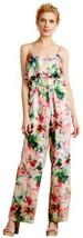 Anthropologie Ikebana Silk Jumpsuit Medium 6 8 Tiered Happy Floral Cool ... - $128.39