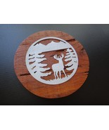BUCK MOUNTAIN HandCrafted Metal Emblem Cypress Wood Plaque Man Cave GIFT... - $64.35