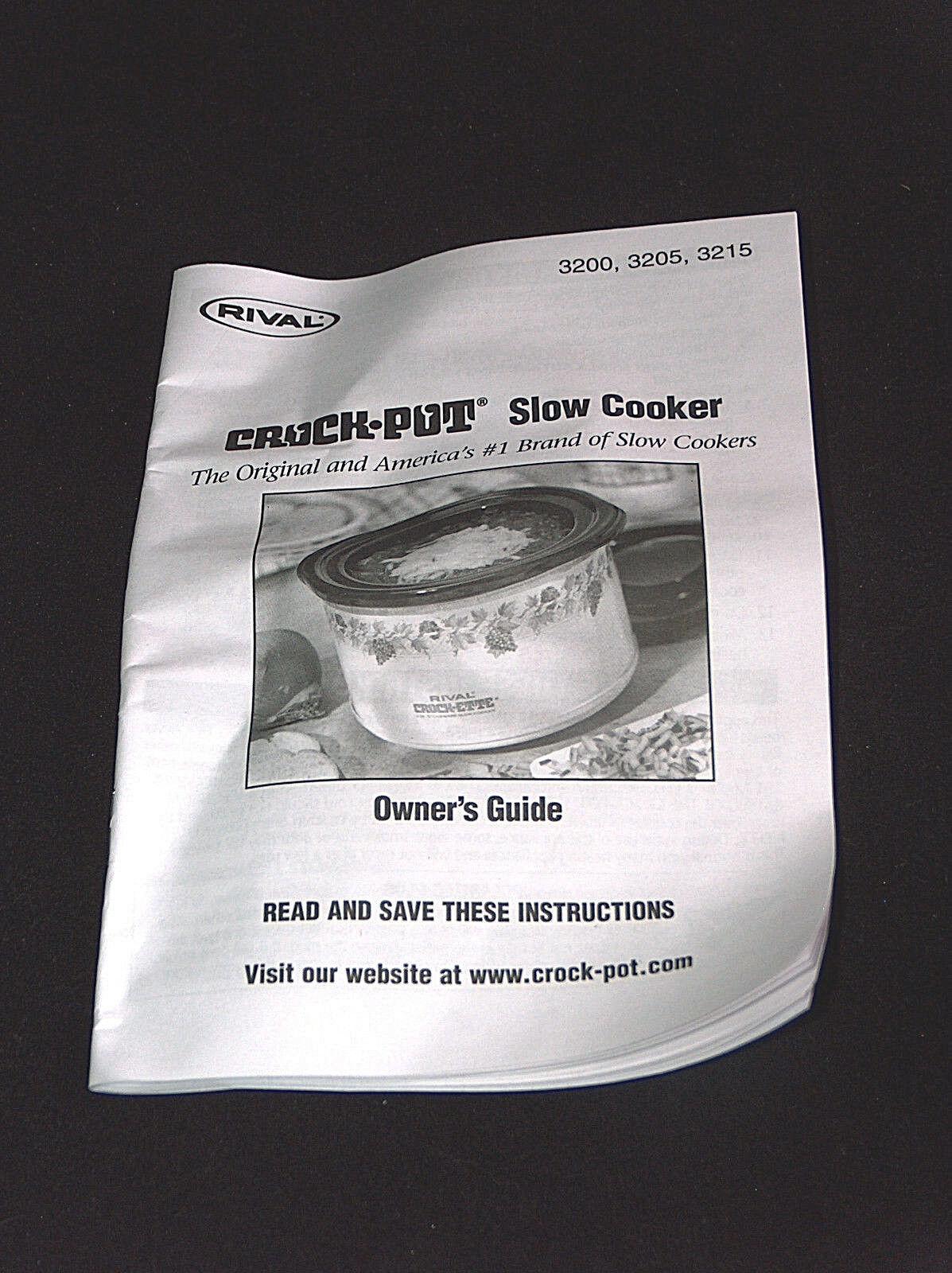 Rival 3215 1.5 QT Crock Pot Slow Cook Instruction Manuel Guide Anglais Espagnol