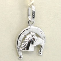 18K WHITE GOLD HORSESHOE AND HORSE CHARM PENDANT SMOOTH BRIGHT MADE IN ITALY image 1