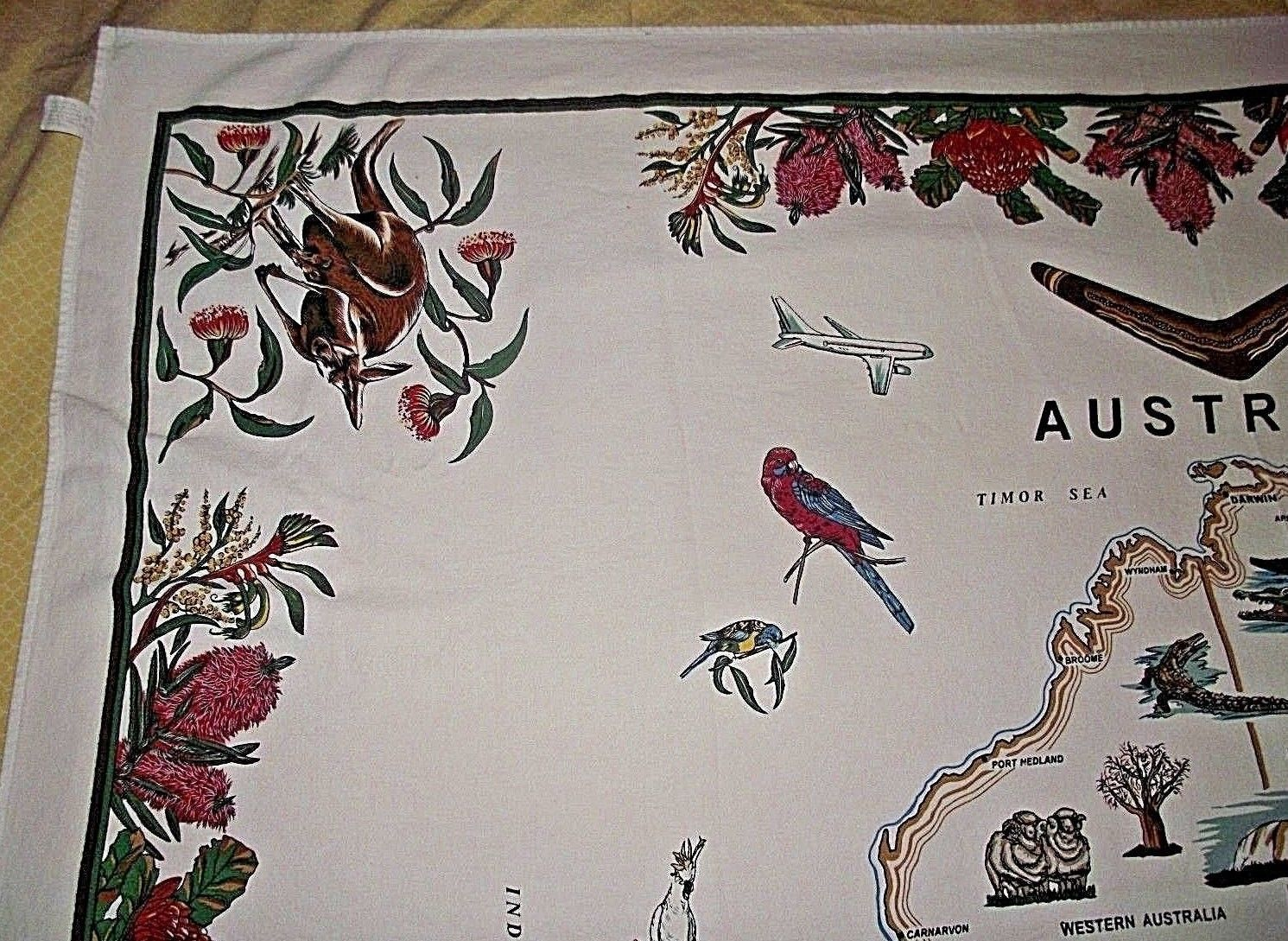 Australia Country Tablecloth Banner Fabric Map Cities Stitchcraft Native Animals