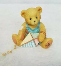 Cherished Teddies Figurine Mark Bear Kite Play Outdoors Garden March 1993 - $18.12