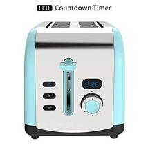 Toaster, 2 Slice Retro Toasters Stainless Steel with LED Timer Display Blue image 5