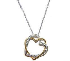 Glitzy Pave Clear AAA CZ 2tone Hugging Heart  Necklace Rhodium+Gold Plated - $24.74