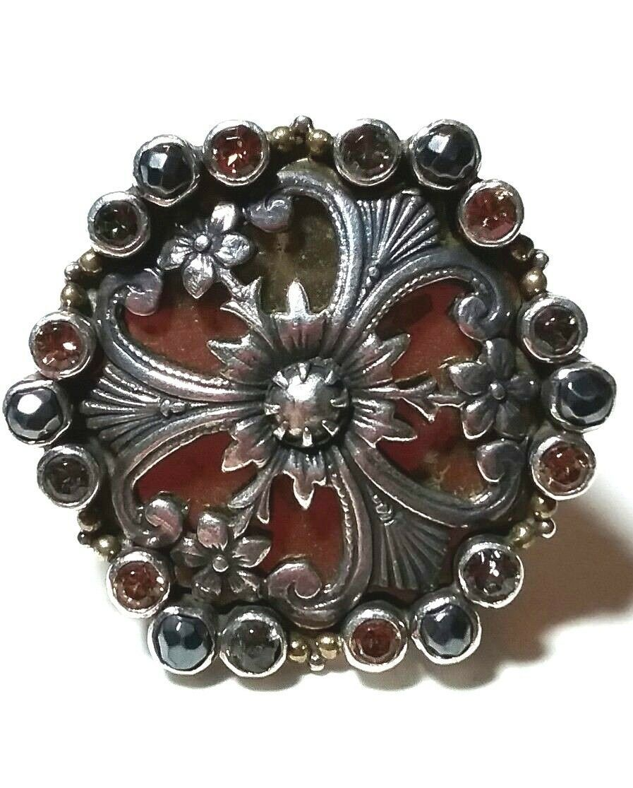 Primary image for LARGE HUGE STERLING SILVER MARS & VALENTINE JEWELED FLORAL SIGNED RING