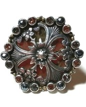 LARGE HUGE STERLING SILVER MARS & VALENTINE JEWELED FLORAL SIGNED RING - $115.00